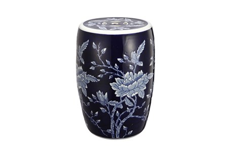 Blue Floral Ceramic Stool