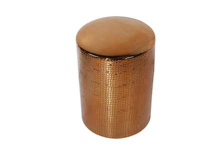 Faux Crocodile Copper Padded Stool