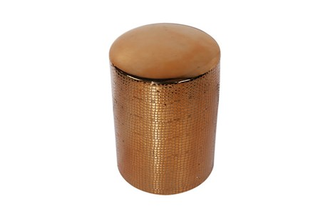 Faux Crocodile Copper Padded Stool - Main