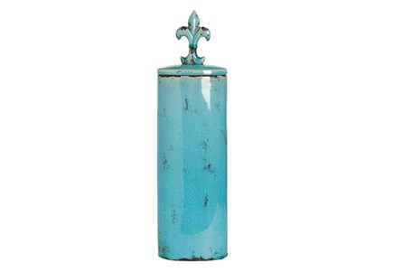 23 Inch Ceramic Blue Gloss Vase