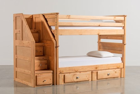 Summit Caramel Twin Over Twin Bunk With 2 Drawer Underbed & Stairchest