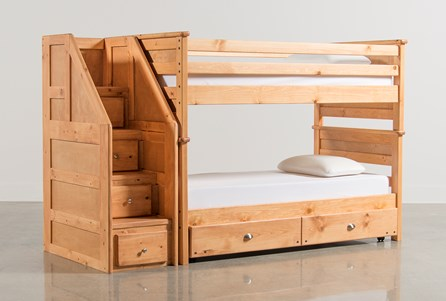 Summit Caramel Twin Over Twin Bunk With Trundle/Matt & Stair Chest