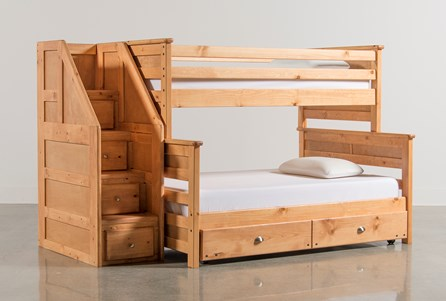 Summit Caramel Twin Over Full Bunk With Trundle/Matt & Stair Chest