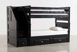Summit Blk Twin Over Twin Bunk Bed With Trundle/Matt & Stair Chest - Signature