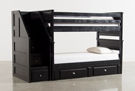 Summit Black Twin Over Twin Bunk Bed With Trundle/Mattress & Stairway Chest
