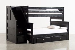 Summit Black Twin Over Full Bunk Bed With 2 Drawer Underbed Storage & Stairway Chest