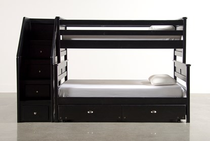 Summit Black Twin Over Full Bunk Bed With 2 Drawer Underbed Storage Stairway Chest