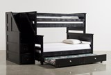 Summit Blk Twin Over Full Bunk Bed With Trundle/Matt & Stair Chest - Signature
