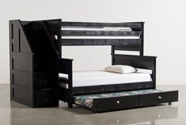 Summit Blk Twin Over Full Bunk Bed With Trundle/Matt & Stair Chest