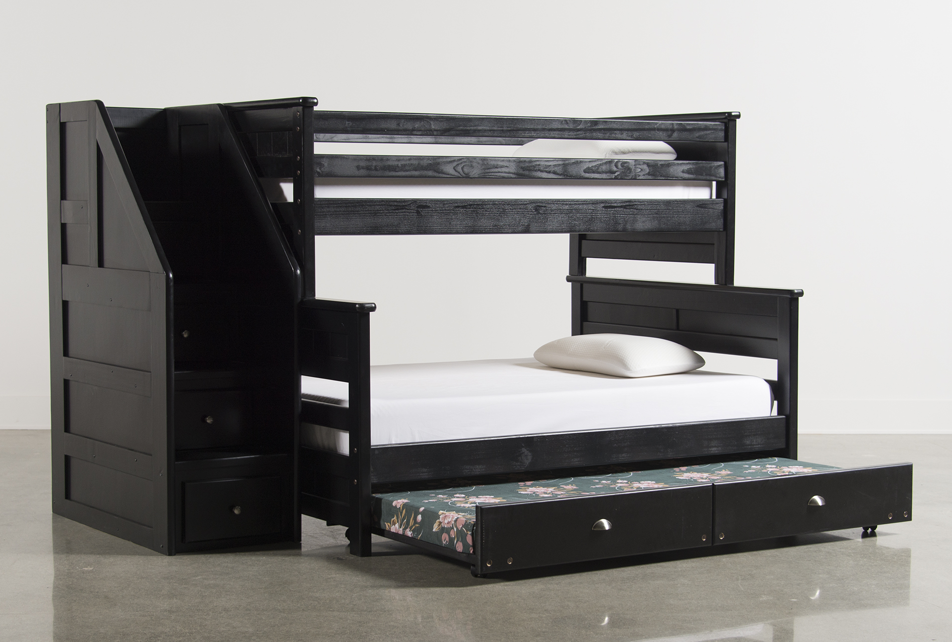 Summit Blk Twin Over Full Bunk Bed With Trundle/Matt U0026amp; Stair Chest  (Qty: 1) Has Been Successfully Added To Your Cart.