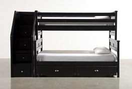 Summit Black Twin Over Full Bunk Bed With Trundle/Mattress & Stairway Chest