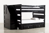 Summit Blk Full Over Full Bunk Bed With 2 Drawer Underbed & Stairchest - Signature