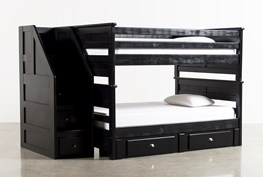 Summit Black Full Over Full Bunk Bed With 2 Drawer Underbed Storage & Stairway Chest