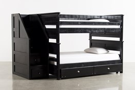 Summit Black Full Over Full Bunk Bed With Trundle/Mattress & Stairway Chest