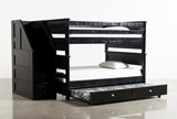 Summit Blk Full Over Full Bunk Bed With Trundle/Matt & Stair Chest - Back