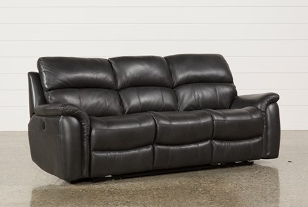 Joel Charcoal Leather Power Reclining Sofa