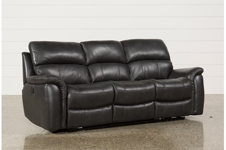 Joel Charcoal Leather Power Reclining Sofa - Main