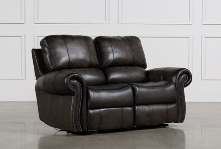 Thad Leather Dual Power Reclining Loveseat