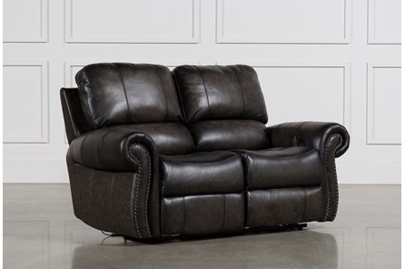 Thad Leather Dual Power Reclining Loveseat - Main