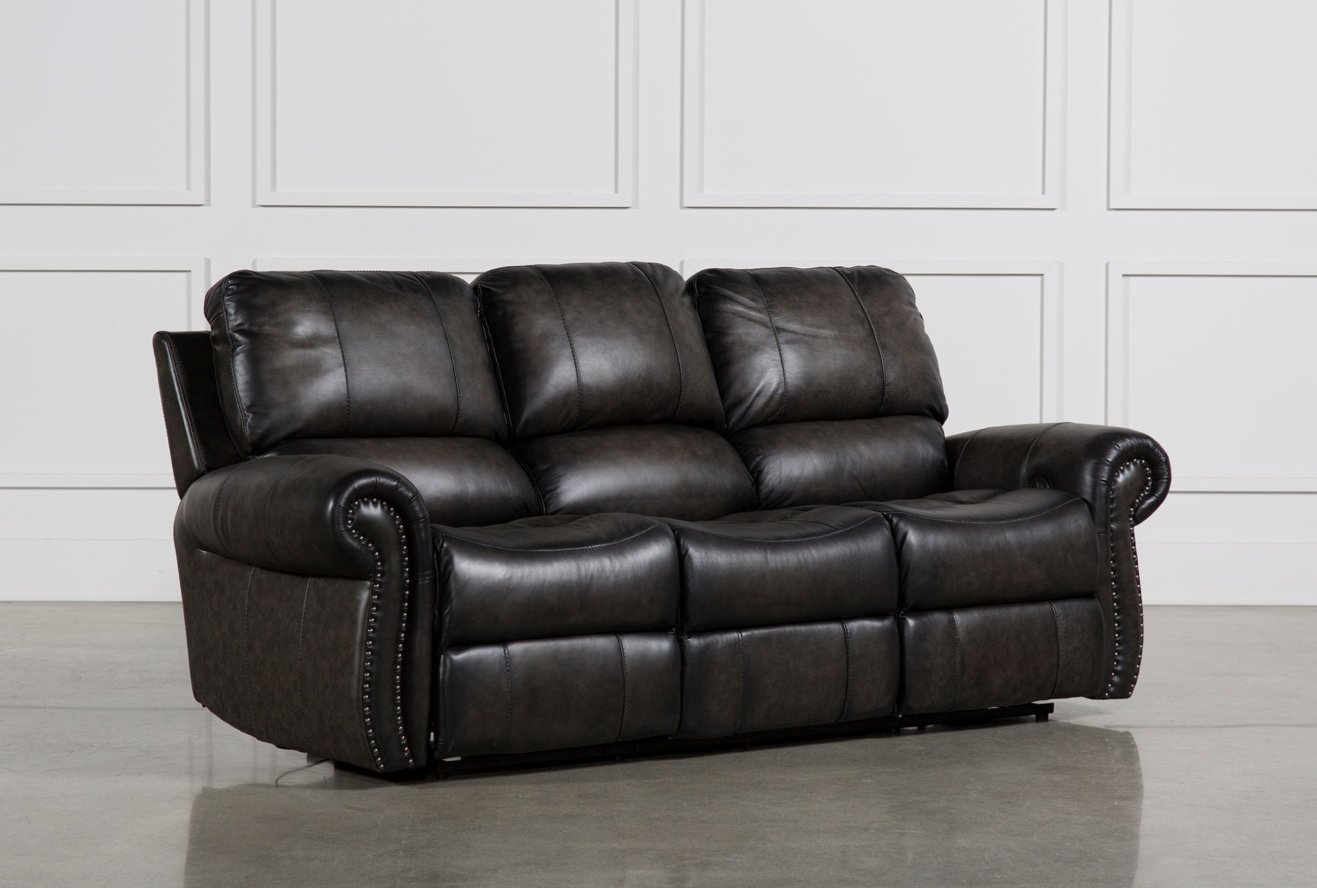 Thad Leather Dual Power Reclining Sofa Living Spaces ~ Leather Dual Reclining Sofa