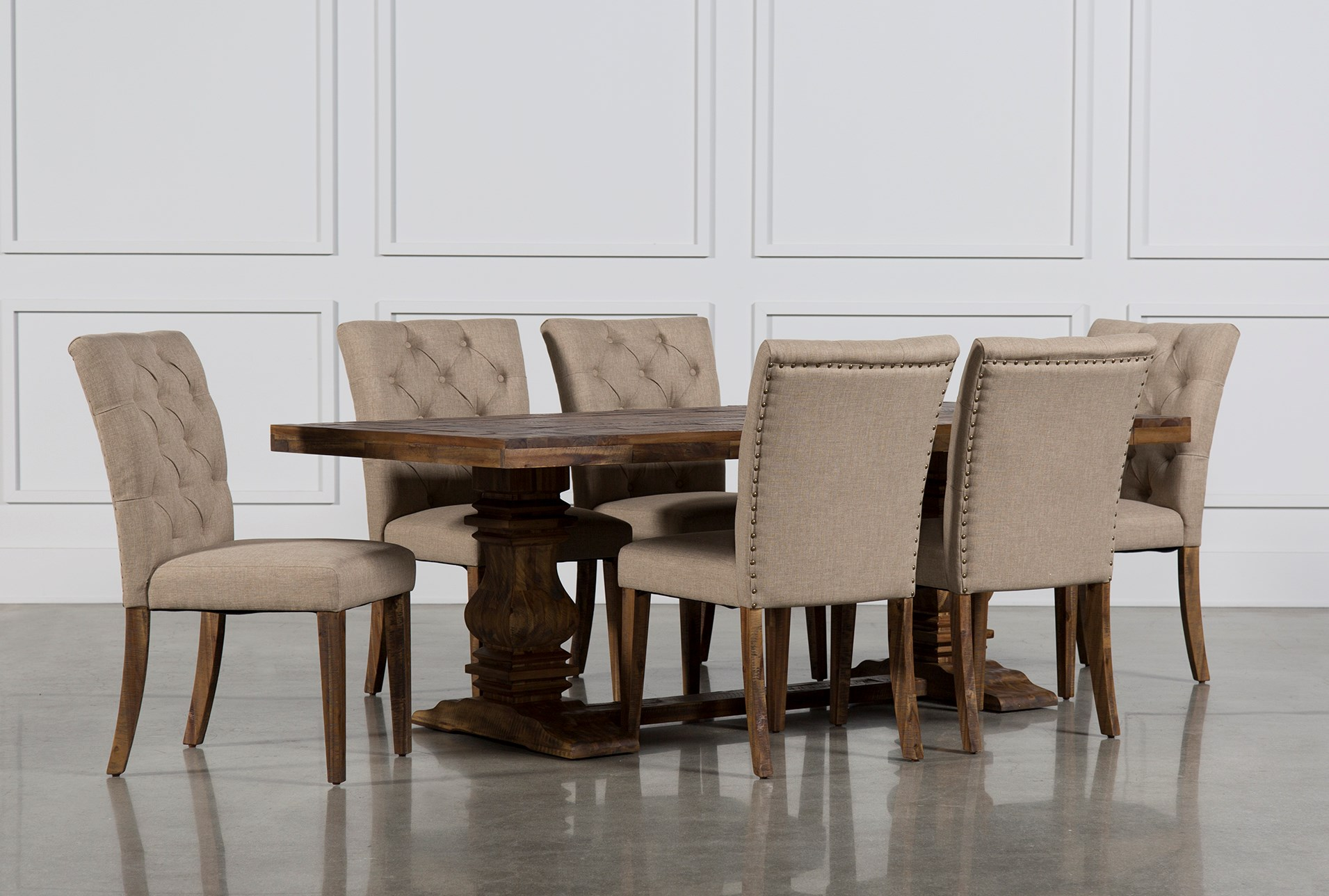 7 piece dining set with leaf upholstered partridge piece dining set qty 1 has been successfully added to your cart living spaces