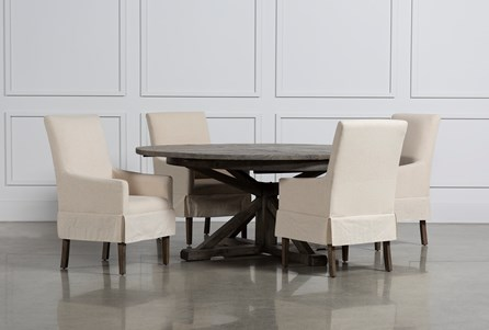 Combs 5 Piece Dining Set W/ Mindy Slipcovered Chairs