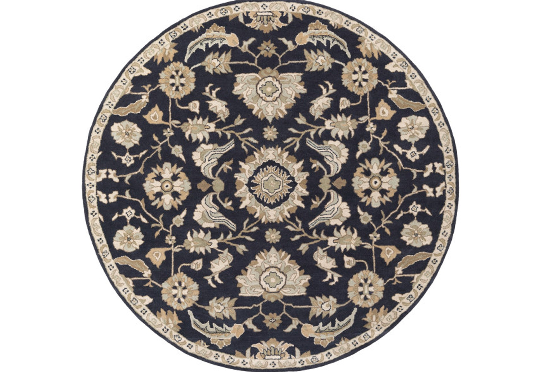 48 Inch Round Rug Zeus Navy Living Spaces