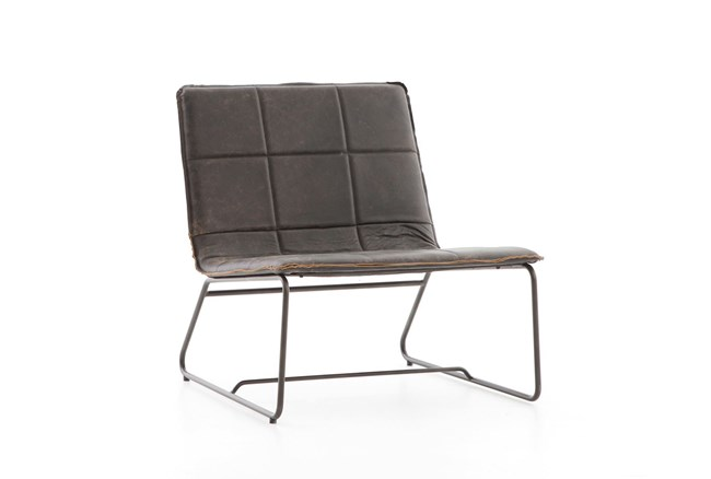 Rialto Ebony Waxed Black Lounge Chair - 360