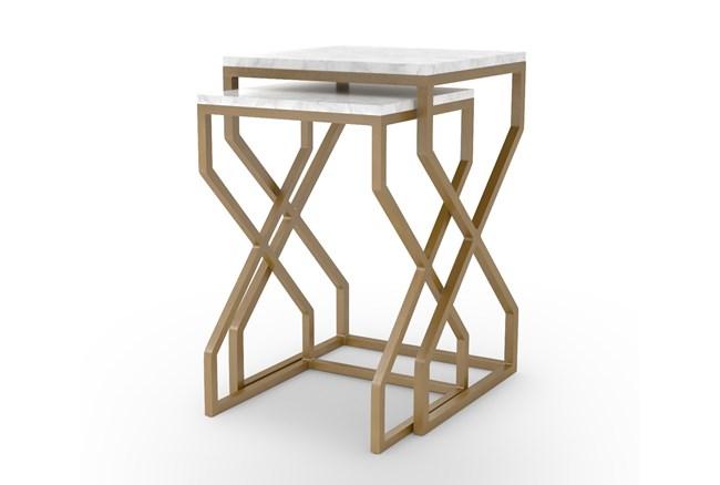 Burundi Brass 2 Piece Set Nesting Side Tables - 360
