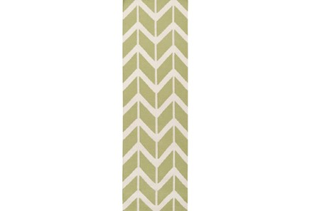 30X96 Rug-Azibo Green Chevron