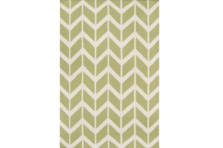 60X96 Rug-Azibo Green Chevron - Main