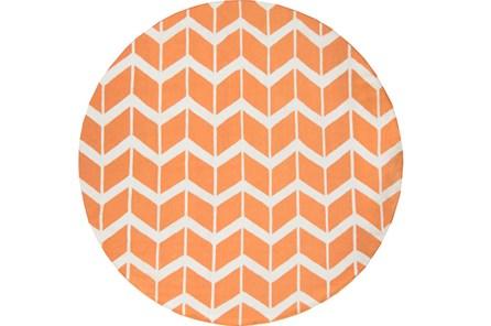 96 Inch Round Rug-Azibo Orange Chevron
