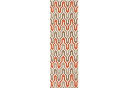30X96 Rug-Andres Taupe/Tangerine