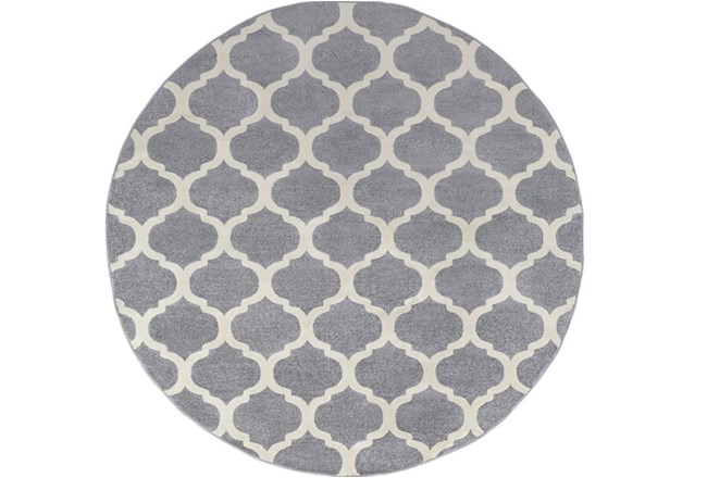 94 Inch Round Rug-Anor Charcoal - 360