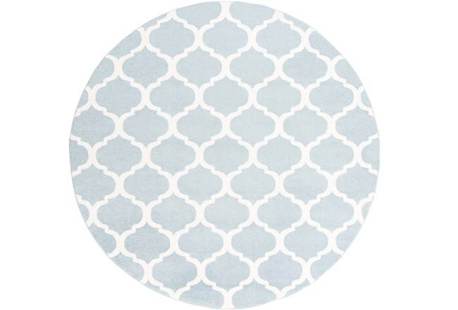 94 Inch Round Rug-Anor Sky Blue - 360