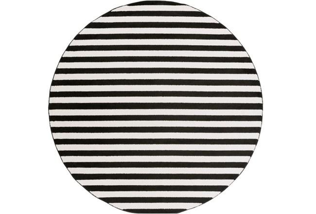 94 Inch Round Rug-Karah Stripe Black - 360