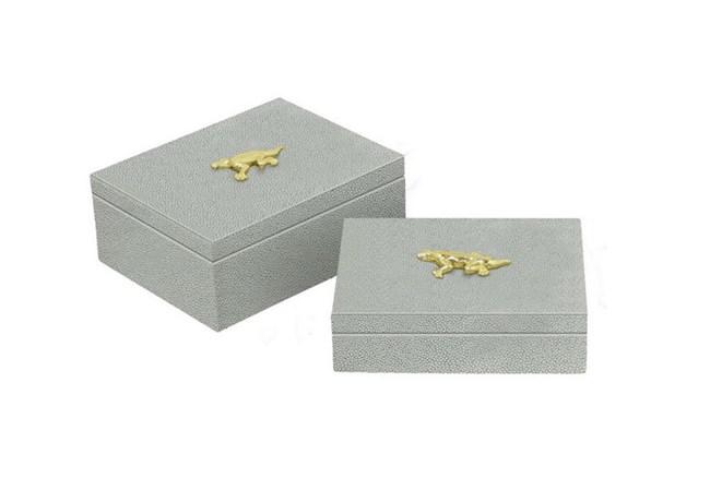 2 Piece Set Mint Shagreen Boxes - 360