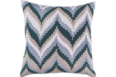 Accent Pillow-Blue Chevron Waves 22X22