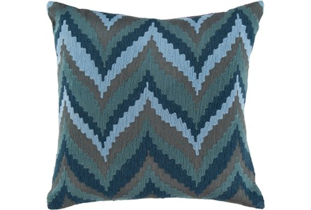 Accent Pillow-Dark Blue Chevron Waves 18X18
