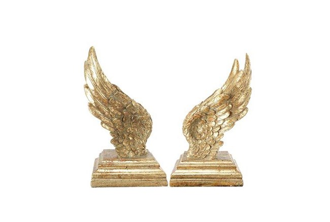 2 Piece Set Gold Wing Bookends - 360