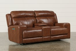 Waylon Leather Power Dual Loveseat W/Power Headrest/Console/Usb