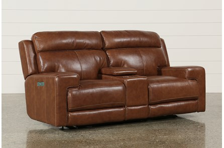 Waylon Leather Power Dual Loveseat W/Power Headrest/Console/Usb - Main