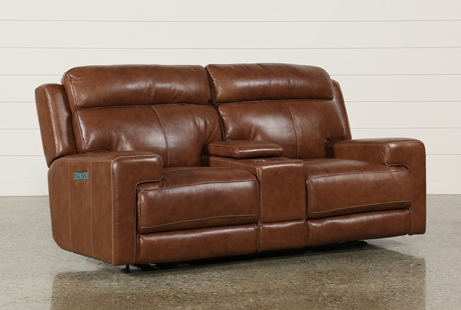 Waylon Leather Power Dual Loveseat W/Power Headrest/Console/Usb - 360