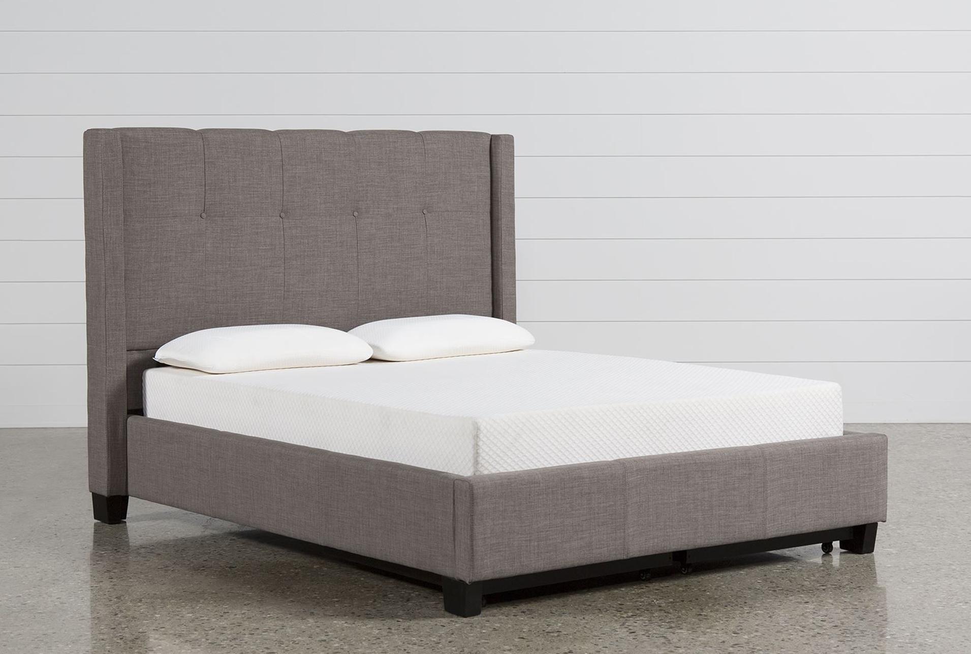 Damon Stone Full Upholstered Platform Bed W/Storage