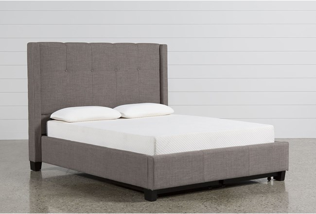 Damon Stone Eastern King Upholstered Platform Bed W/Storage | Living ...