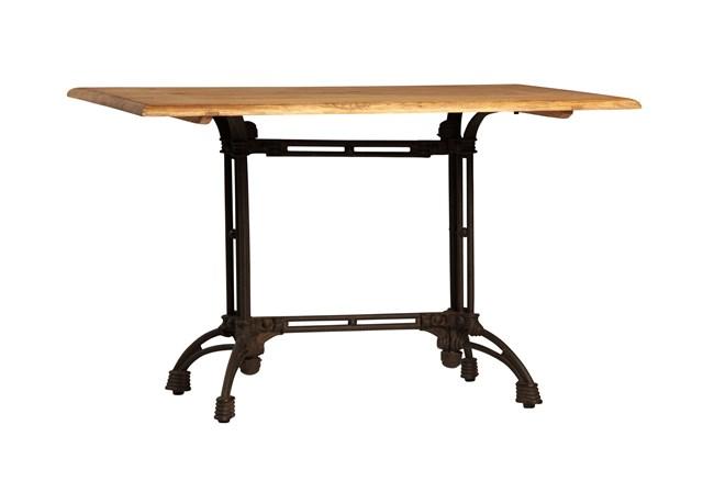 Light Brown Oak & Cast Steel Bistro Table - 360