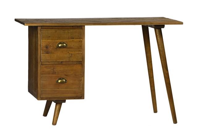 Medium Brown Rustic Pine 2-Drawer Desk - 360