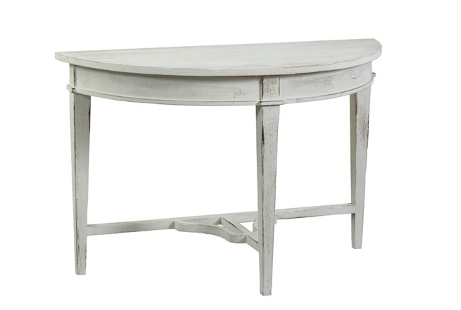 Pale Grey & White Reclaimed Pine Console Table - 360