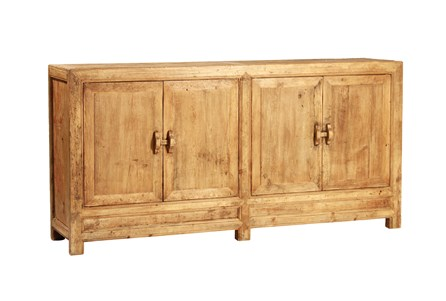 Light Brown Reclaimed Elm & Pine 84 Inch Sideboard