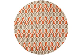 8' Round Rug-Andres Taupe/Tangerine